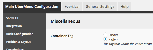 UberMenu Container Tag Setting